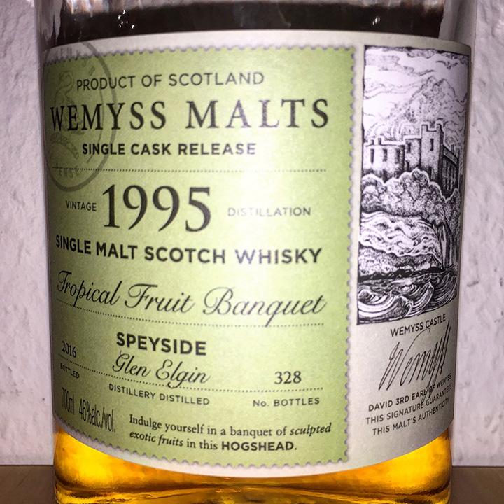 "Glen Elgin 20yo by Wemyss Malts ""Tropical Fruit Banquet"" (Speyside Single Malt Scotch Whisky Bourbon Cask)"
