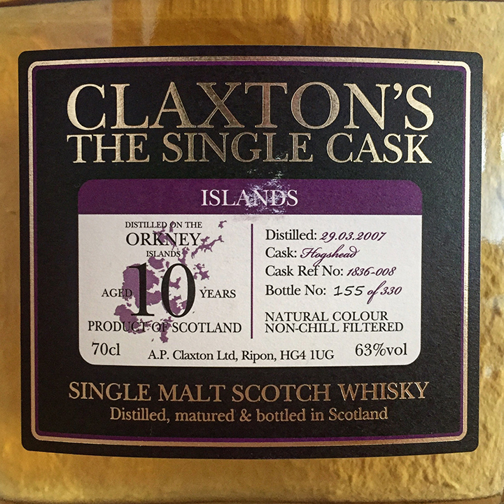 Orkney 10yo by Claxton's (Islands Single Malt Scotch Whisky Cask Strength Tasting Notes BarleyMania)