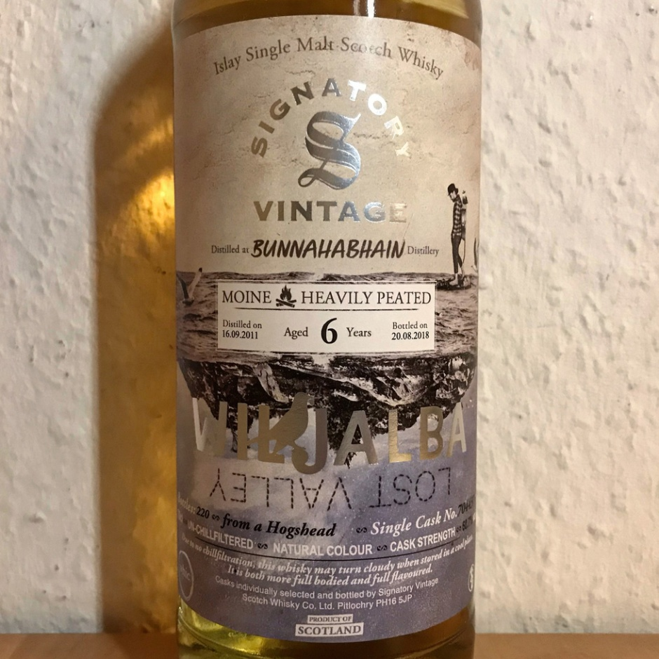 Bunnahabhain Moine 6yo bottled by Signatory for Wiljalba (Single Malt Islay Scotch Whisky Heavily Peated)