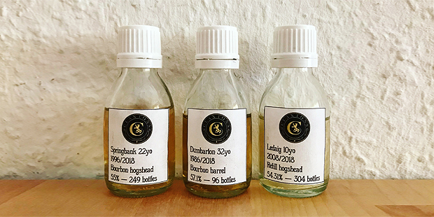 3x Single Cask Whisky by Claxton's (Scotch Malt Peated Springbank Dumbarton Ledaig Tasting Notes)