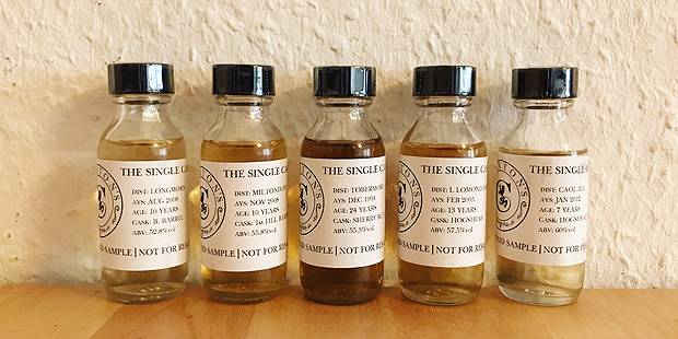 5x Single Cask Whisky from Claxton's (Scotch Malt Dram Longmorn Miltonduff Tobermory Loch Lomond Caol Ila Speyside Islay Notes)