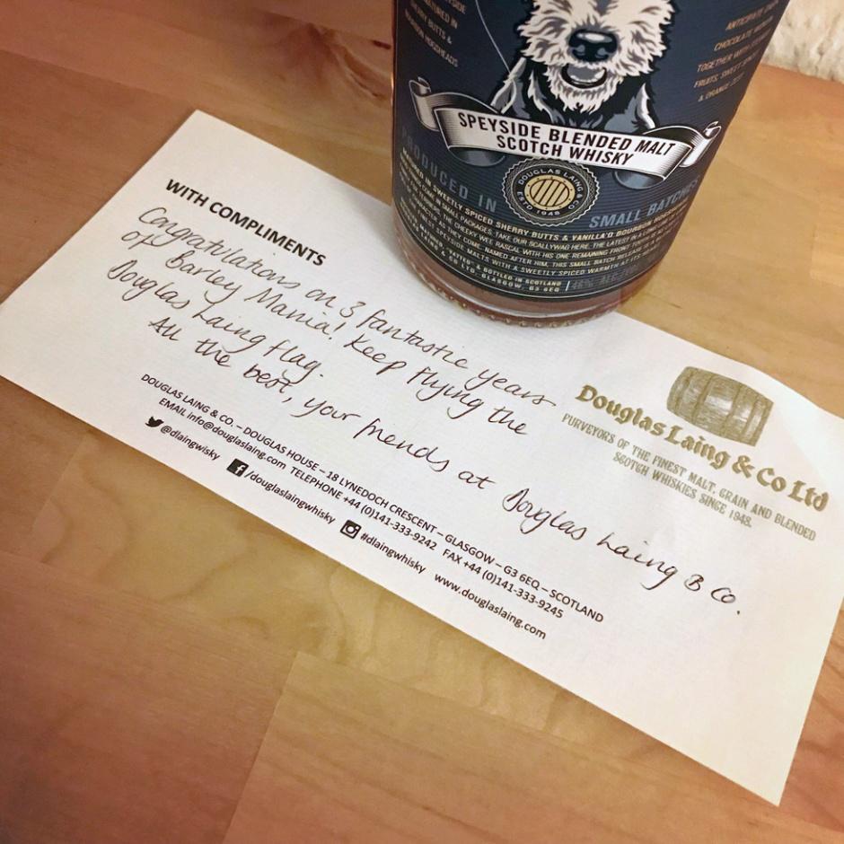 BarleyMania's Barleyversary 2019 (Single Blended Malt Scotch Whisky Scallywag Fary Lochan Kilchoman Weinquelle Give-Away Prize)