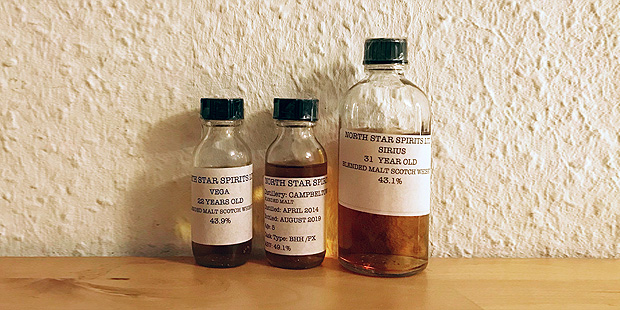 3x Blended Malt Scotch Whisky by North Star (Sirius Vega Campbeltown Tasting Notes Blog)