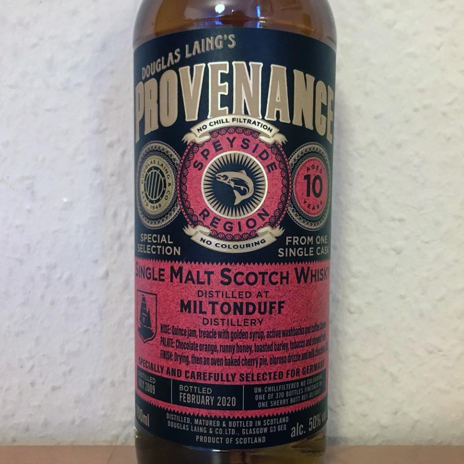 Miltonduff 10yo Provenance by Douglas Laing (Single Malt Cask Scotch Whisky Sherry Speyside Tasting Notes)