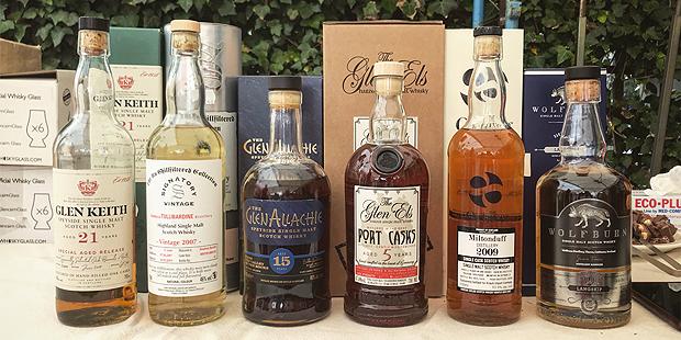 Whisky Tasting at Heiner's Duty Free Shop on Helgoland (Single Malt Scotch Glen Keith Glenallachie Miltonduff Wolfburn)
