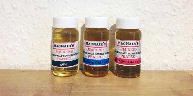 3x McNair's Lum Reek Peated Single Malt Scotch Whisky (The GlenAllachie Blog Tasting Notes BarleyMania)